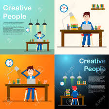 design freelancer creative people freelancer happy working man vector illustration