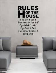 For Kitchen Wall Art Rules Of The House Wall Art Sticker Quote Decal Bedroom Lounge Ebay