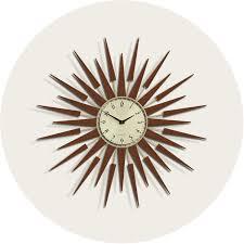 sunburst wall clock mid century wood starburst newgate clocks pluto homeware