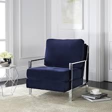 velvet accent chair. Safavieh Mid-Century Modern Walden Tufted Velvet Chrome Navy Accent Chair C