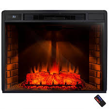freestanding electric fireplace insert heater in black with tempered glass and remote