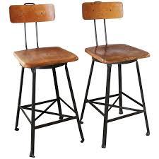 wood metal bar stools. Pair Of Vintage Industrial Wood And Metal Bar Stools For Sale