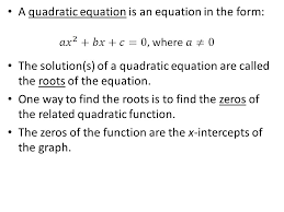 a quadratic equation is an equation in the form