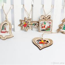wooden house wooden pendants xmas tree ornaments diy wood crafts wedding party decoration kids gift ornament for ornaments