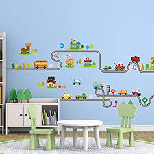 Diy kids room Adorable Ideas Amaonm Removable Cute Cartoon Kids Room Wall Decal Diy Vinyl City Car Circled Curved Road Wall Amazoncom Amazoncom Amaonm Removable Cute Cartoon Kids Room Wall Decal Diy