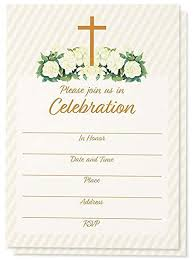 60 Pack Religious Invitations Christian Invitation Cards Ideal For Funeral Baptism Easter Party Church Events V Flap Envelopes Included 5 X 7