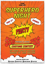 Costume Contest Flyer Template Superhero Costume Party Flyer Template