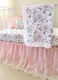 blush pink crib bedding set farmhouse peonies