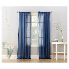 avril crushed sheer curtain panel indigo blue 50 x95
