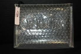 victoria s secret pink makeup bag purse cosmetic case clear glitter new