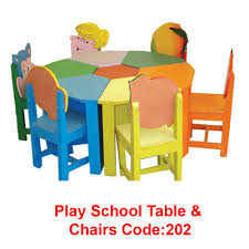 school table and chairs. play school round table with chairs code 202 and