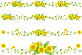 フリーイラスト 4種類のヒマワリの花のラインのセットでアハ体験