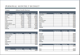 Budget Worksheets Excel Personal Monthly Budget Worksheet Ms Excel Word Document