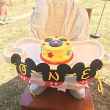 Mickey Mouse First Birthday Highchair Banner Mickey Mouse Etsy