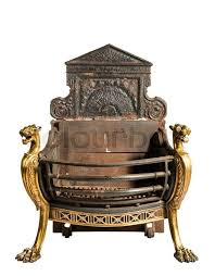 antique fireplace grate with large back plate and brass decoration victorian for um fire places isolated on white stock photo colourbox
