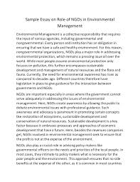 sample essay on role of ng os in environmental management