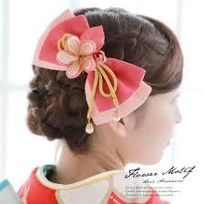 髪飾り 2点セット ピンク リボン 梅 花 つまみ細工 縮緬 ぶら飾り