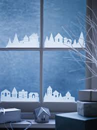 Miniature Towns Drawn In White At Window Base Weihnachten
