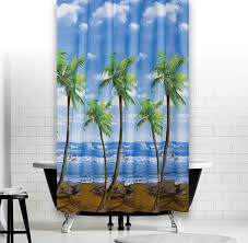 palms extra long fabric shower curtain with rings 180 x