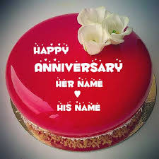 Happy Anniversary Mirror Glass Red Cake With Couple Nameprint Love
