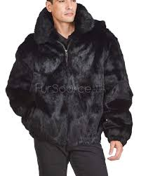 black rabbit fur hooded er jacket for men