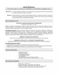 Resume Examples Student Collge High School Mechanical Engineer Job