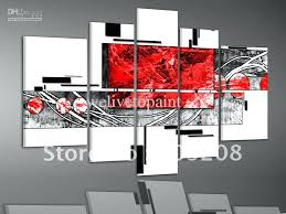 black white and red wall art framed 5 panels 100 handmade huge black white and red black white and red wall art  on black and white with a splash of red wall art with black white and red wall art black white red wide stretch 4 panel