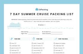 7 Day Cruise Packing List 7 Day Summer Cruise Packing List Ezpacking Inc