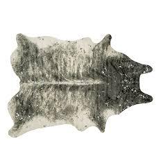 silver flecked faux cowhide rug