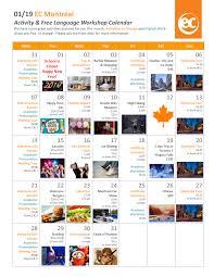 EC Montreal's January Calendar of Events! - EC Montreal Blog