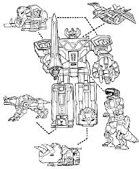 Power Rangers Megazord And Dinosaurs Coloring Page For Boys Robot