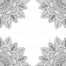 Indian Floral Frame For Coloring Pages Book stock vector art ...