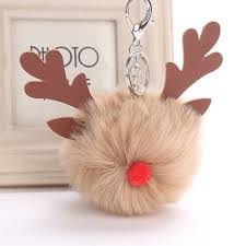 <b>Xmas Elk Fur Ball</b> Keychain Fluffy Pom Pom Keychain Holder ...