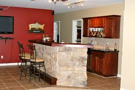beautiful modern home bar design presenting curved colorful wooden different styles for highlighting natural stacked stone agreeable home bar design