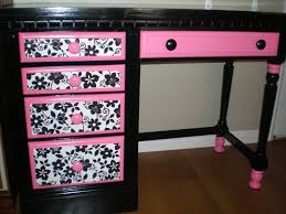 sassy black hot pink and white desk fun for a young girl s room i ve also refinished a night stand to match the set for 150 sold