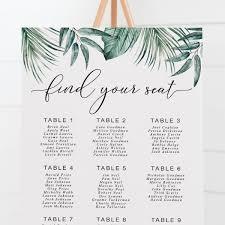 Tropical Wedding Seating Chart Tropical Leaf Wedding