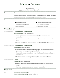 Employee Of The Month On Resume Resume In Customer Service Representative Customer Service