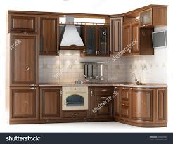 Kitchen Furnitur Beautiful Kitchen Furniture Made Wood Studio Stock Illustration