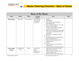 Master Cleaning Schedule In Word And Pdf Formats