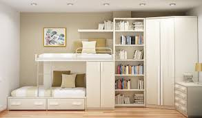 place white bunk beds and high white bookshelves as minimalist furniture for small spaces cheap furniture for small spaces
