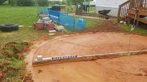 It is easy to obtain when installing an above ground pool. Leveling Out My Pool Area Above Ground Pool Landscaping Backyard Pool Swimming Pool Decks