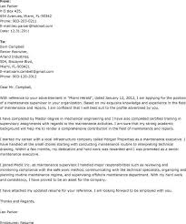 Perfect Sample Cover Letter For Maintenance Job With Additional