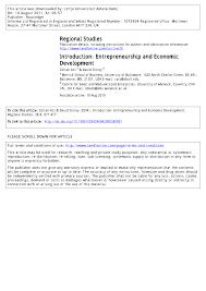 Pdf Introduction Entrepreneurship And Economic Development