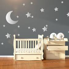 large moon 21 silver stars nursery wall decals nursery wall s on stars nursery wall art with shop moon and stars nursery on wanelo