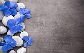 Wallpaper flowers, stones, blue ...