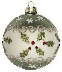 Buy Holly Glass Bauble - green - Farmer Gow's