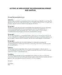 Personal Letter Of Recommendation Format Personal Letter Of Recommendation Free Sample Format A To