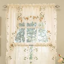 old world style fl embroidered semi sheer swag curtain valance