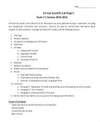 Lab Report Template Example Of A Chemistry Scientific Cover