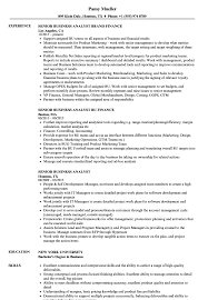 Senior Business Analyst Resume Samples Velvet Jobs
